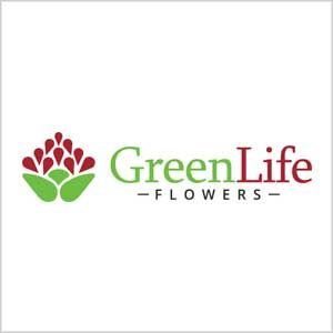 Green Life Flowers Logo Design